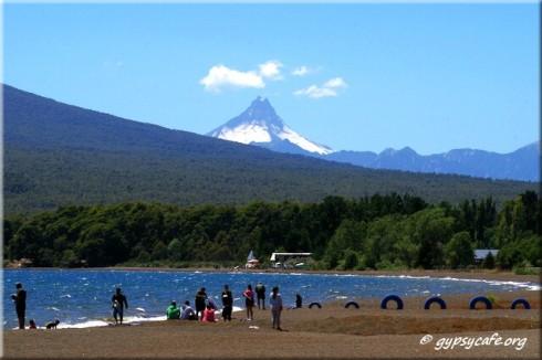 Lake Llanquihue beach with Volcano Puntiagudo, Chile - Los Lagos y Los Volcans 3